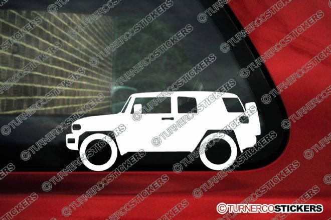 2x Low car outline stickers - Toyota FJ Cruiser (non roof rack) offroad 4x4